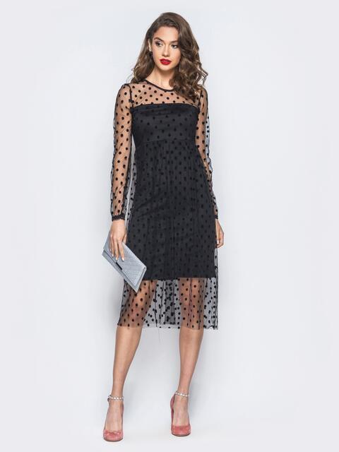 Платье из фактурного фатина с подкладкой черное - 18067, фото 1 – интернет-магазин Dressa