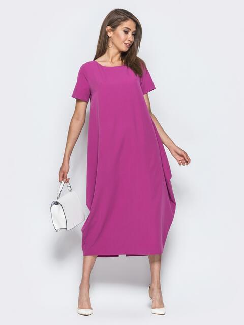 Платье свободного кроя с карманами в швах розовое 14589, фото 1