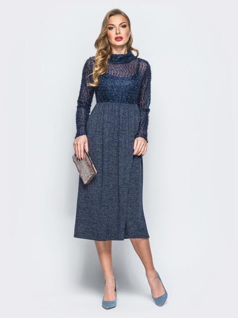 """Платье тёмно-синего цвета с верхом из трикотажа """"травка"""" - 18142, фото 1 – интернет-магазин Dressa"""