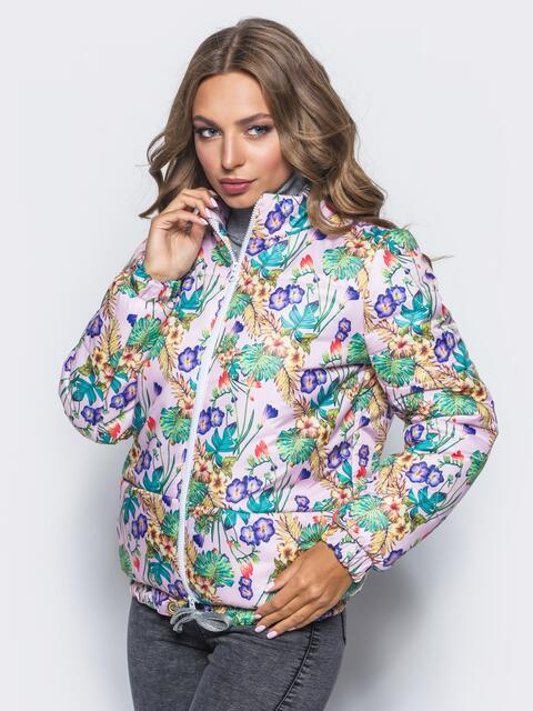 Принтованая куртка с карманами и кулиской по низу розовая - 15650, фото 1 – интернет-магазин Dressa