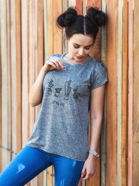 """Серая футболка с принтом """"кактус"""" - 18308, фото 1 – интернет-магазин Dressa"""