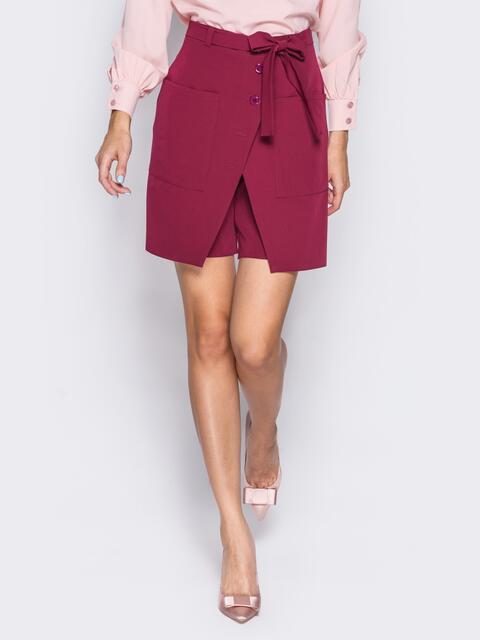 Шорты-юбка с накладными карманами и потайной молнией бордовая - 14533, фото 1 – интернет-магазин Dressa