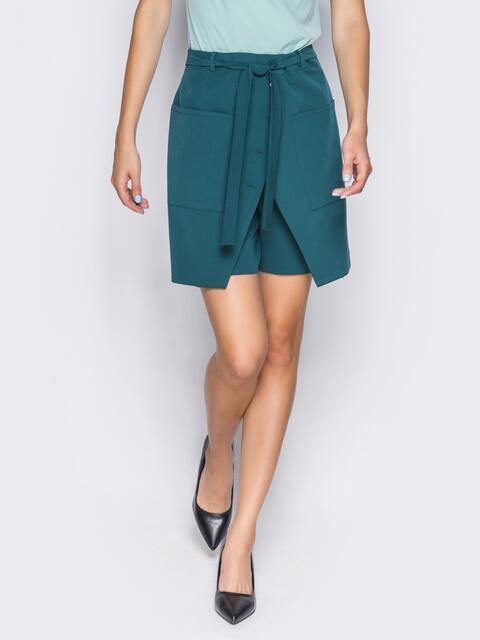 Шорты-юбка с накладными карманами и потайной молнией зелёные - 14532, фото 1 – интернет-магазин Dressa