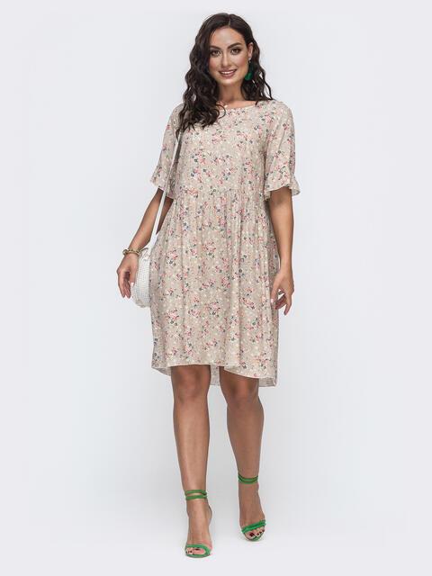 Свободное платье батал из штапеля с принтом бежевое 49974, фото 1