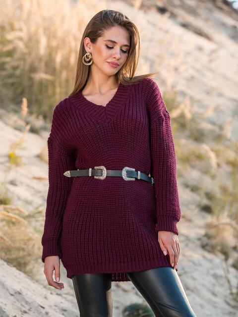 Свободный свитер крупной вязки с V-вырезом бордовый - 41579, фото 1 – интернет-магазин Dressa