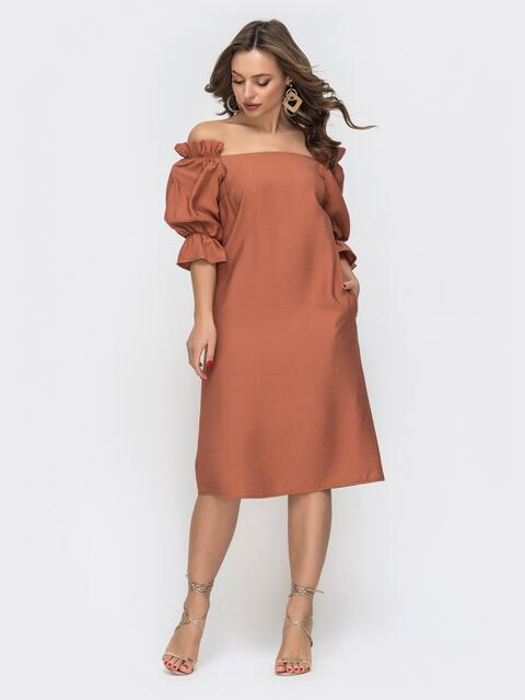 Терракотовое платье прямого кроя с открытыми плечами  45822, фото 1
