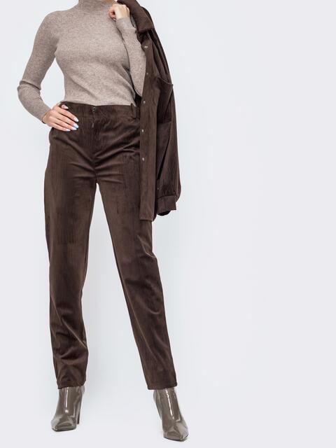 Вельветовые брюки со средней посадкой коричневые - 44825, фото 1 – интернет-магазин Dressa
