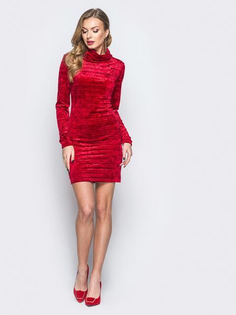 Велюровое платье красного цвета с воротником-хомут 18044, фото 1