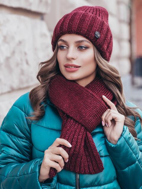 Вязаный комплект из шапки с шарфом бордовый 40438, фото 1