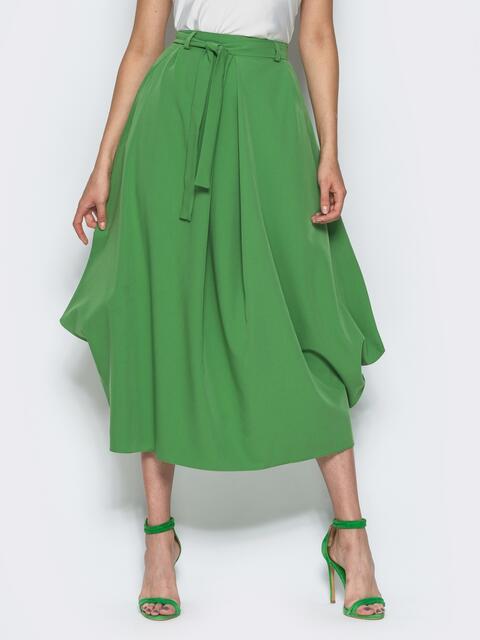 Юбка-миди свободного кроя с карманами в швах зелёная 14382, фото 1