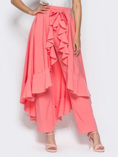 Юбка-палаццо с оборкой на юбке розовая - 14379, фото 1 – интернет-магазин Dressa