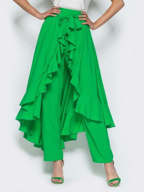 Юбка-палаццо с оборкой на юбке зелёная - 14378, фото 1 – интернет-магазин Dressa