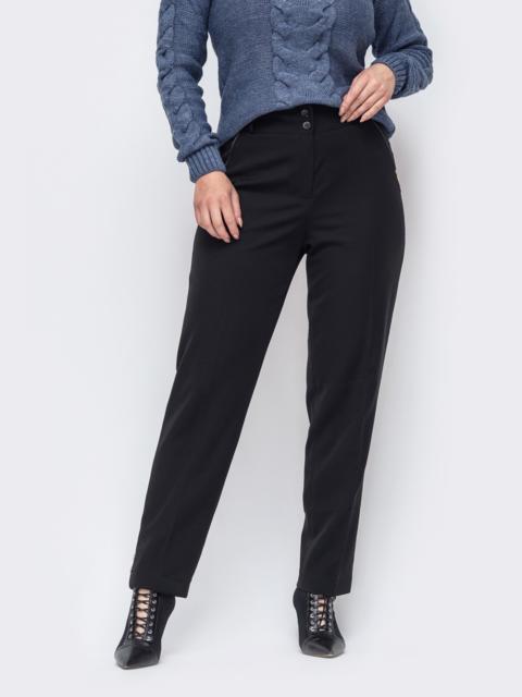 Зауженные брюки большого размера чёрные 50912, фото 1