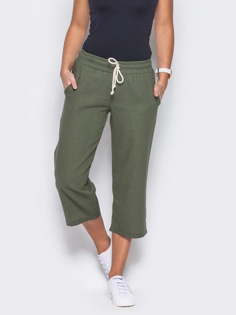 Зеленые кюлоты с поясом на резинке - 10339, фото 1 – интернет-магазин Dressa