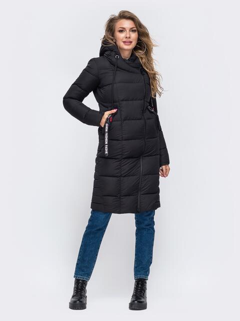 Зимняя куртка с капюшоном чёрная 50665, фото 1