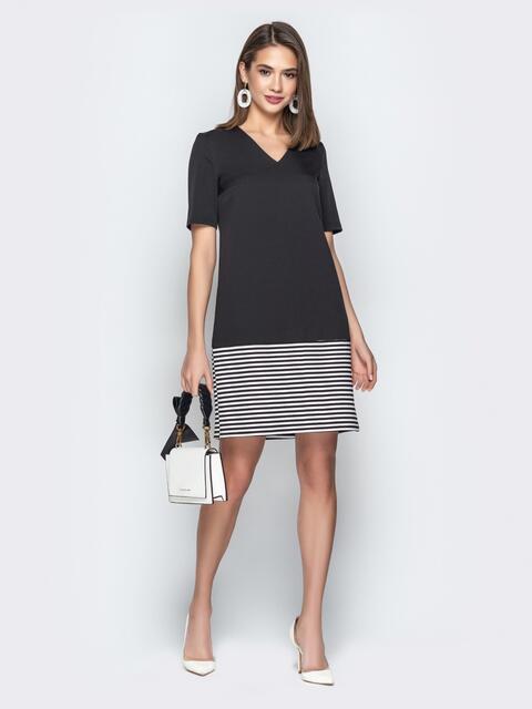 0562cd27a6fc9ea Чёрное платье прямого кроя с контрастной вставкой - 21037, фото 1 – интернет -магазин. 595 грн