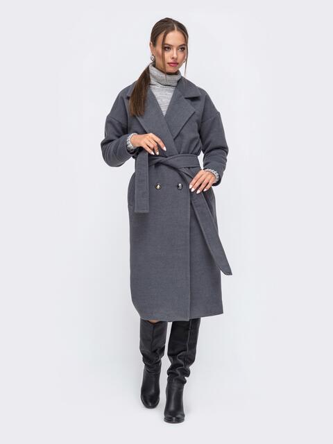 Демисезонное пальто со спущенной линией плеч серое 50254, фото 1
