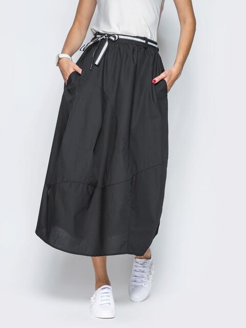 Хлопковая юбка чёрного цвета с карманами - 21766, фото 1 – интернет-магазин Dressa
