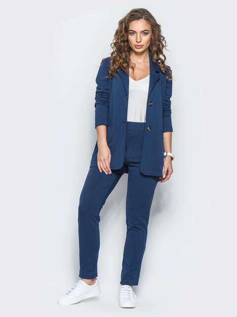 Комплект с брюками на резинке тёмно-синий - 12722, фото 1 – интернет-магазин Dressa