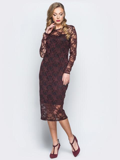 Платье из гипюра с подкладкой черного цвета - 18169, фото 1 – интернет-магазин Dressa