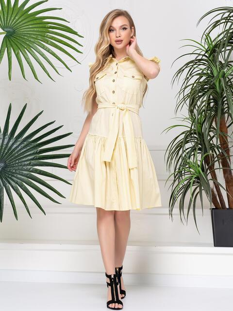 Платье с горох с воланом по низу желтое 48808, фото 1