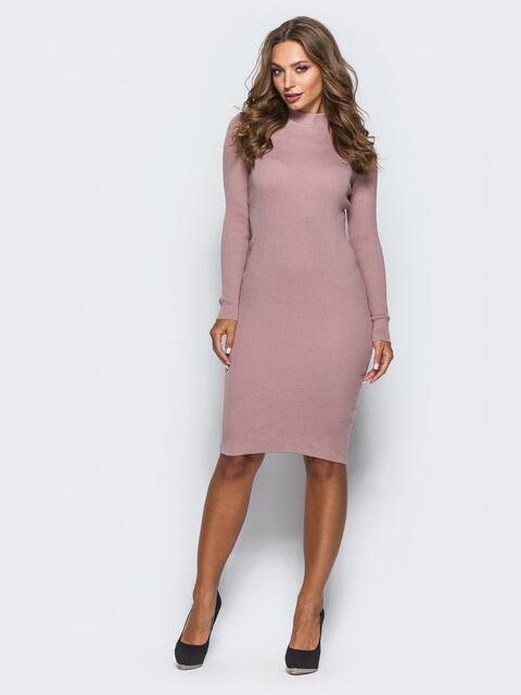 Розовое трикотажное платье в рубчик с длинными рукавами - 15917, фото 1 – интернет-магазин Dressa