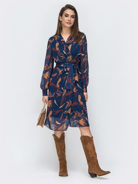 Шифоновое платье на запах с принтом тёмно-синее 45058, фото 1