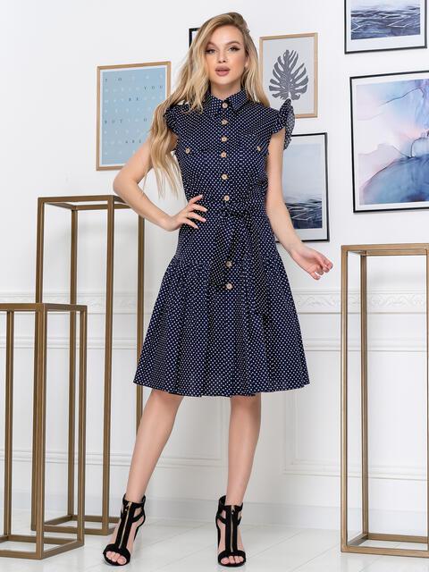 Тёмно-синее платье в горох с воланом по низу 48811, фото 1
