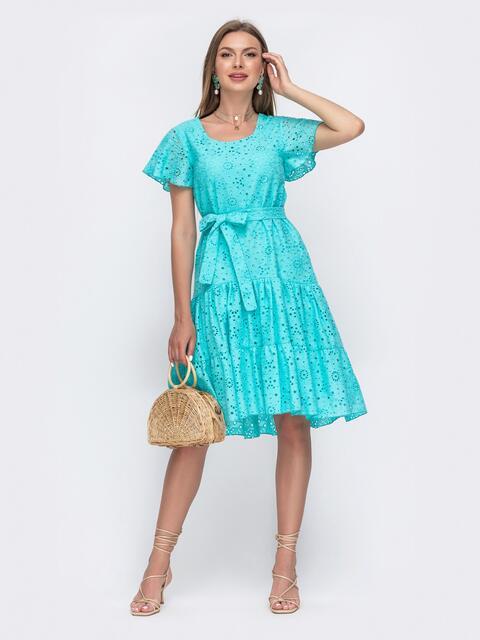 """Бирюзовое платье из прошвы с рукавом """"крылышко"""" 49561, фото 1"""