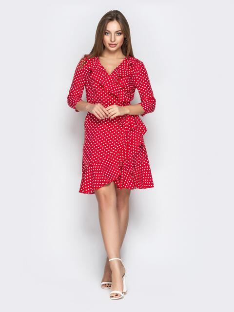 Красное платье в горох с оборкой по горловине и низу - 21091, фото 1 – интернет-магазин Dressa