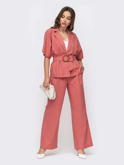 Льняной костюм из жакета и брюк-клеш розовый 49308, фото 1