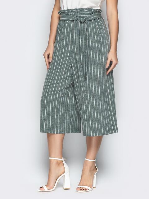 Льняные брюки-кюлоты в полоску на резинке бутылка - 21087, фото 1 – интернет-магазин Dressa
