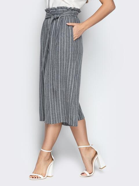 Льняные брюки-кюлоты в полоску на резинке серые - 21086, фото 1 – интернет-магазин Dressa