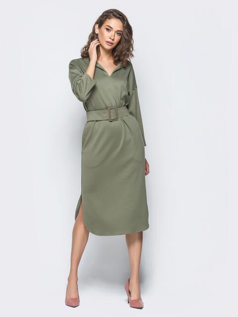 Платье цвета хаки прямого кроя с карманами по бокам - 16237, фото 1 – интернет-магазин Dressa