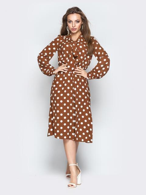 17f0f522a5d Принтованное платье с воротником аскот коричневое - 21090