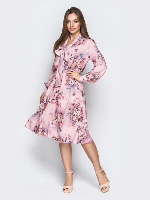 Принтованное платье с воротником аскот розовое - 21089, фото 1 – интернет-магазин Dressa