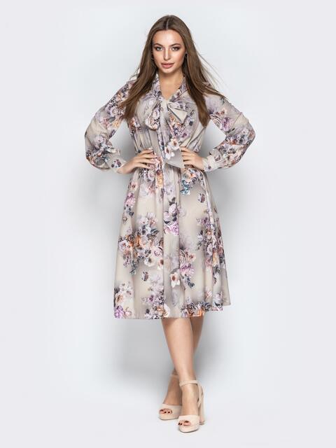 Принтованное платье с воротником аскот серое - 21088, фото 1 – интернет-магазин Dressa