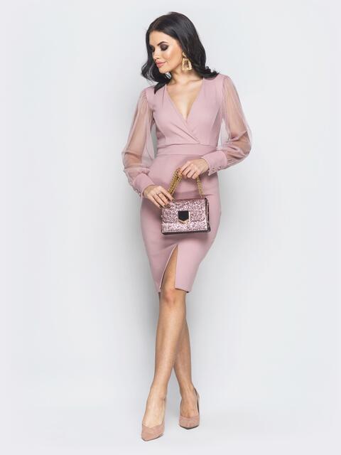 Пудровое платье с разрезом и рукавами из фатина - 18998, фото 1 – интернет- 1fa1ba695f0
