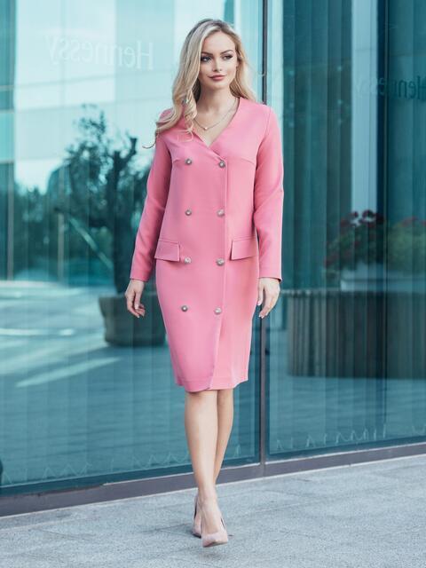 c5097b8bcc1 Коралловое платье-трапеция из креп-дайвинга со вставками 21014. 44 ·  Розовое платье-пиджак с функциональными пуговицами и карманами-обманками -  16140