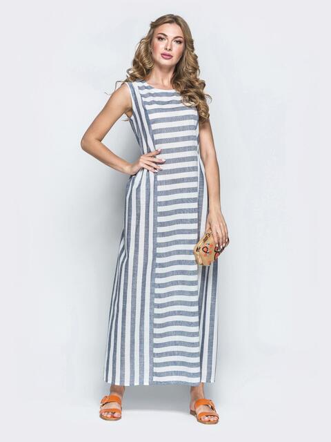 Серое платье-макси из льна в полоску 39475, фото 1