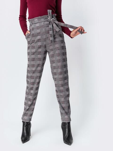 Серые брюки в клетку с завышенной талией 42125, фото 1