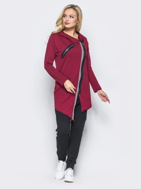 Спортивный костюм с косой молнией на бордовой кофте - 15762, фото 1 – интернет-магазин Dressa