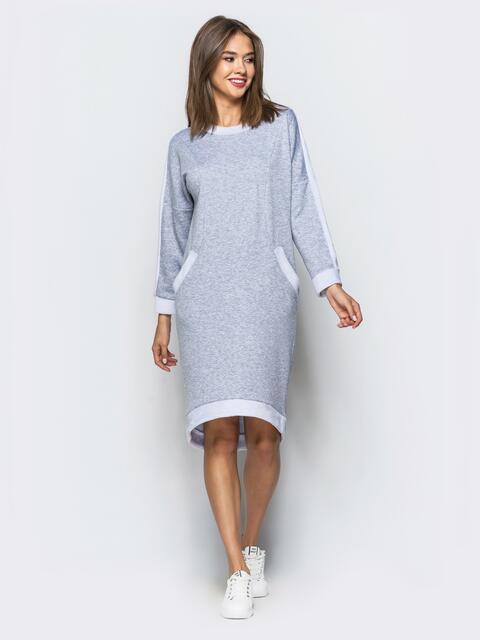 Теплое платье светло-серого цвета с удлиненной спинкой - 16917, фото 1 – интернет-магазин Dressa
