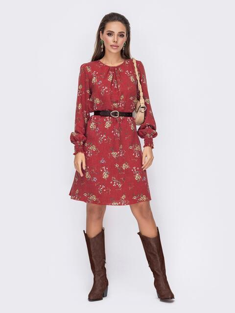 Терракотовое платье-трапеция с цветочным принтом 52659, фото 1