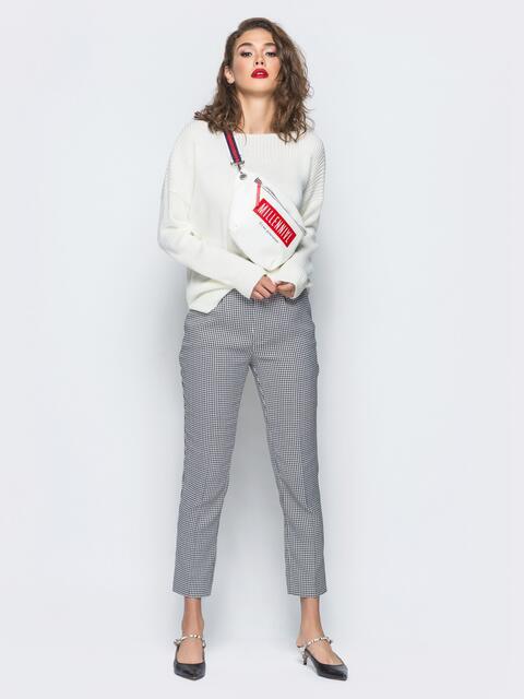Укороченные брюки серого цвета с карманами - 16260, фото 1 – интернет-магазин Dressa
