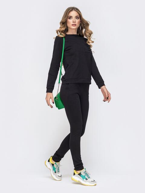 Чёрный комплект из свитшота и брюк - 41602, фото 1 – интернет-магазин Dressa