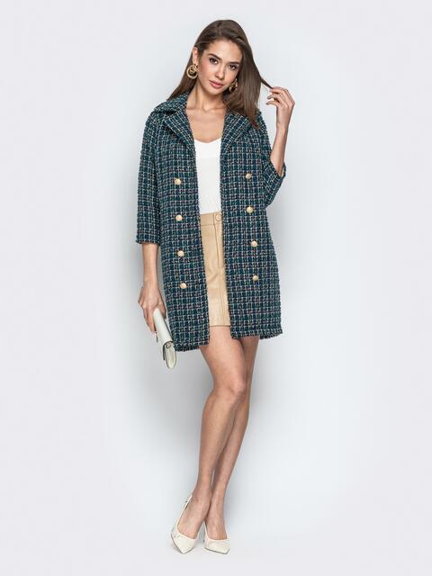 Двубортное платье-пиджак из твида в клетку бутылка - 21331, фото 1 – интернет-магазин Dressa