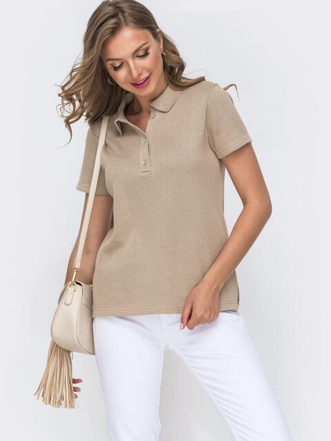Хлопковая футболка-поло бежевого цвета  49610, фото 1