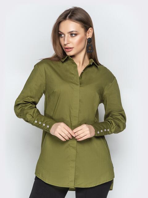 Хлопковая рубашка с удлиненной спинкой хаки - 21330, фото 1 – интернет-магазин Dressa