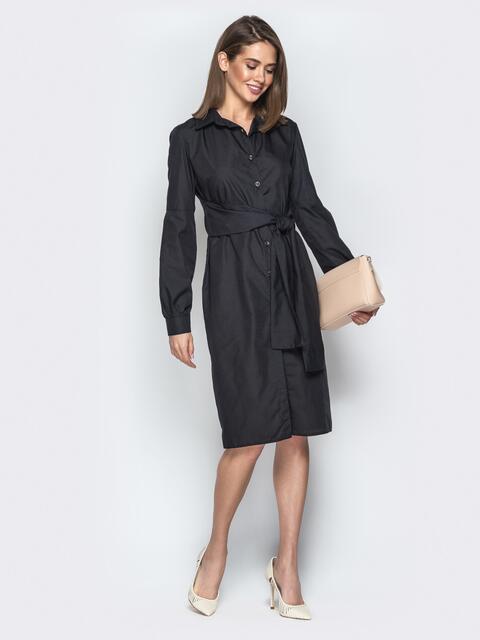 Хлопковое платье-рубашка с вшитым поясом чёрное - 20851, фото 1 – интернет-магазин Dressa